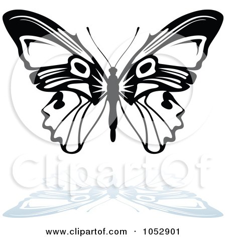 Royalty-Free Vector Clip Art Illustration of a Black And White Butterfly Logo With A Reflection - 14 by dero