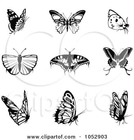 Royalty-Free Vector Clipart Illustration of a Digital Collage Of Black And White Butterfly Logos by dero