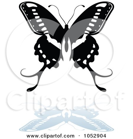 Royalty-Free Vector Clip Art Illustration of a Black And White Butterfly Logo With A Reflection - 17 by dero