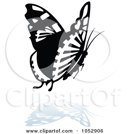 Royalty-Free Vector Clip Art Illustration of a Black And White Butterfly Logo With A Reflection - 13 by dero