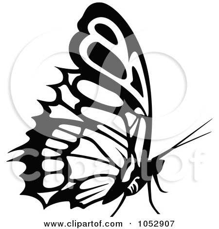 Royalty-Free Vector Clip Art Illustration of a Black And White Flying Butterfly Logo - 20 by dero