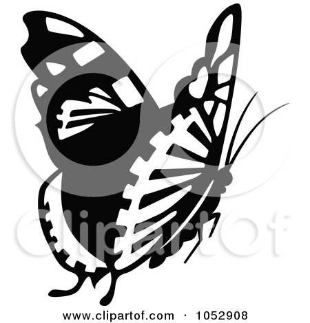 Royalty-Free Vector Clip Art Illustration of a Black And White Flying Butterfly Logo - 13 by dero