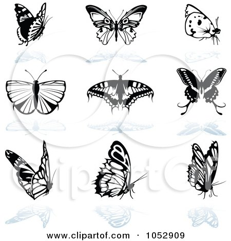 Royalty-Free Vector Clipart Illustration of a Digital Collage Of Black And White Butterfly Logos And Reflections by dero