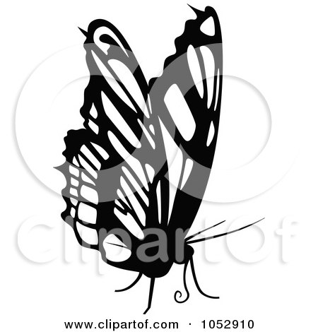 Royalty-Free Vector Clip Art Illustration of a Black And White Flying Butterfly Logo - 21 by dero
