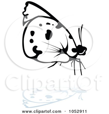 Royalty-Free Vector Clip Art Illustration of a Black And White Butterfly Logo With A Reflection - 15 by dero