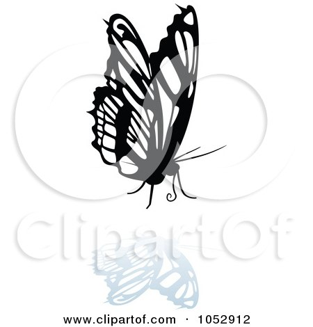 Royalty-Free Vector Clip Art Illustration of a Black And White Butterfly Logo With A Reflection - 20 by dero