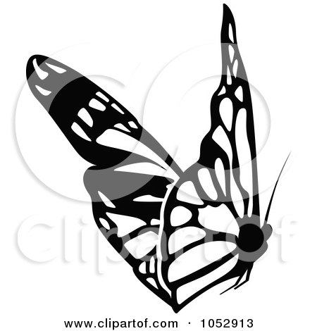 Royalty-Free Vector Clip Art Illustration of a Black And White Flying Butterfly Logo - 19 by dero