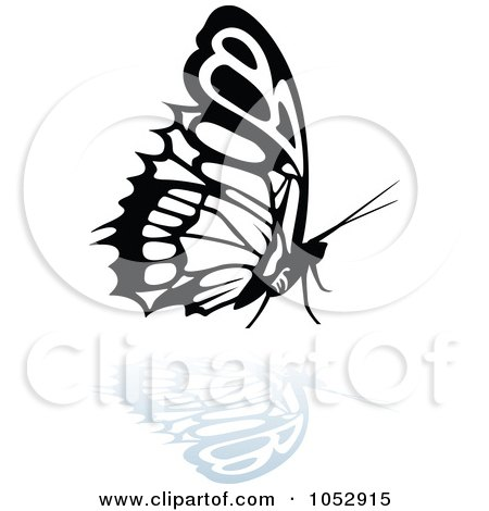 Royalty-Free Vector Clip Art Illustration of a Black And White Butterfly Logo With A Reflection - 19 by dero
