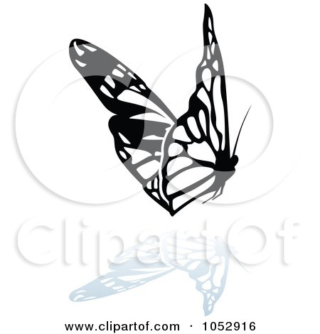 Royalty-Free Vector Clip Art Illustration of a Black And White Butterfly Logo With A Reflection - 18 by dero