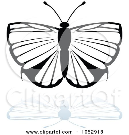 Royalty-Free Vector Clip Art Illustration of a Black And White Butterfly Logo With A Reflection - 16 by dero