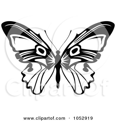 Royalty-Free Vector Clip Art Illustration of a Black And White Flying Butterfly Logo - 14 by dero
