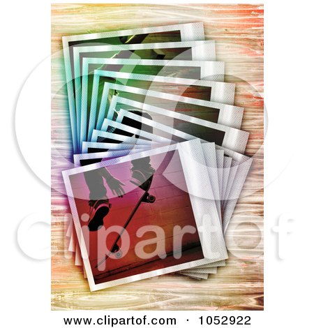 Royalty-Free Vector Clip Art Illustration of a Stack Of Skateboarding Polaroid Frames On Wood by Arena Creative