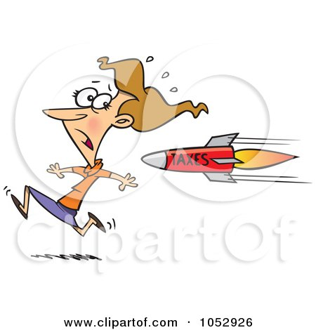 Royalty-Free Vector Clip Art Illustration of a Cartoon Business Woman Running From A Tax Rocket by toonaday