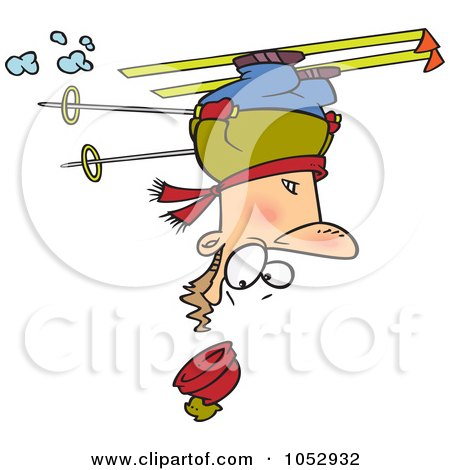 Royalty-Free Vector Clip Art Illustration of a Cartoon Skier Upside Down by toonaday