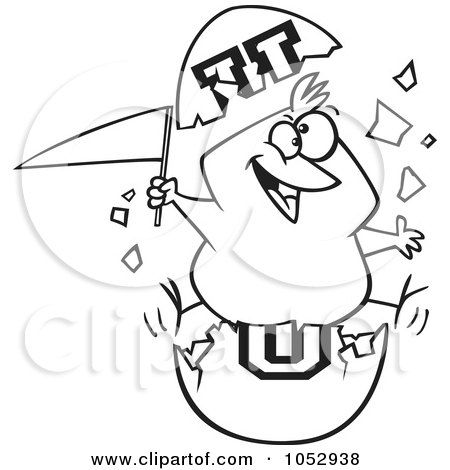 Royalty-Free Vector Clip Art Illustration of a Cartoon Black And White Outline Design Of A Freshmen Chick With A Flag In An Egg Shell by toonaday