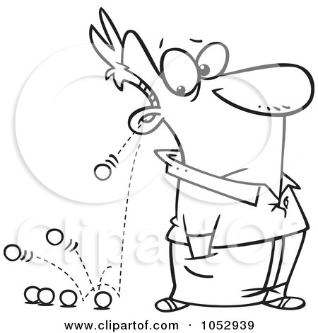 Royalty-Free Vector Clip Art Illustration of a Cartoon Black And White Outline Design Of Marbles Falling Out Of A Man's Ears by toonaday