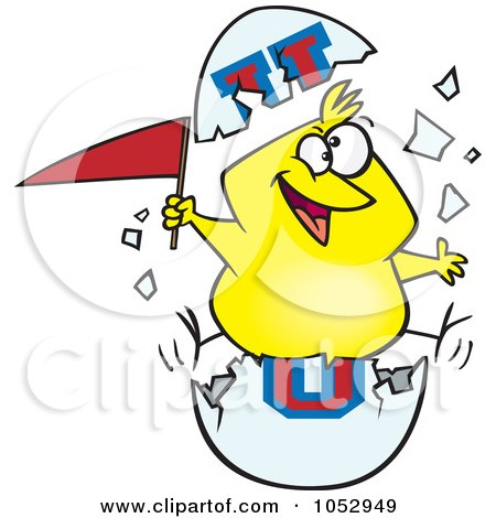 Royalty-Free Vector Clip Art Illustration of a Cartoon Freshmen Chick With A Flag In An Egg Shell by toonaday