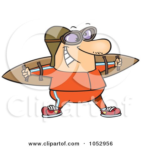 Royalty-Free Vector Clip Art Illustration of a Cartoon Aviator Wearing Strap On Wings by toonaday