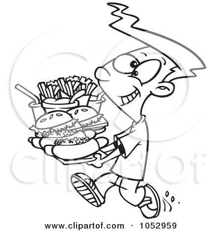 Eating Junk Foods Drawing Carrying a Heavy Fast Food