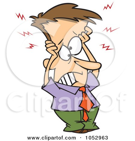 Royalty-Free Vector Clip Art Illustration of a Cartoon Frazzled Businessman Holding His Head by toonaday