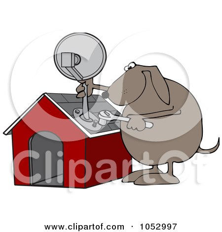 Royalty-Free Vector Clip Art Illustration of a Dog Attaching A Satellite To His House by djart