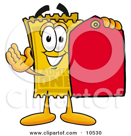 Clipart Picture of a Yellow Admission Ticket Mascot Cartoon Character Holding a Yellow Sales Price Tag by Toons4Biz