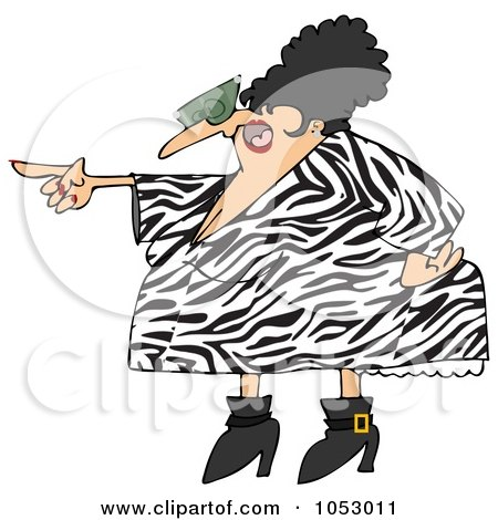Royalty-free clipart illustration of a pointing angry woman in a zebra print
