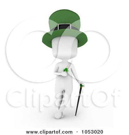 Royalty-Free 3d Clip Art Illustration of a 3d Ivory White Man Leprechaun Holding A Clover And Leaning On A Cane by BNP Design Studio