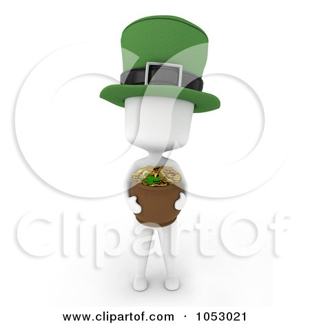 Royalty-Free 3d Clip Art Illustration of a 3d Ivory White Man Leprechaun Holding A Pot Of Gold by BNP Design Studio