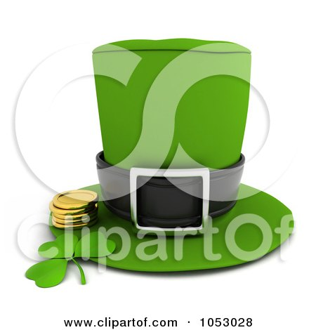 Royalty-Free 3d Clip Art Illustration of a 3d Leprechaun Hat With A Clover And Gold Coins by BNP Design Studio