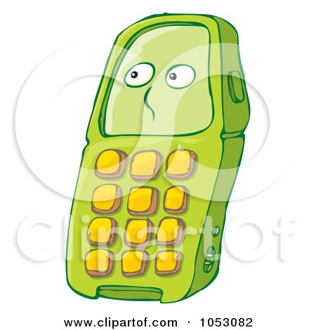 Royalty-free clipart illustration of a green cell phone character,