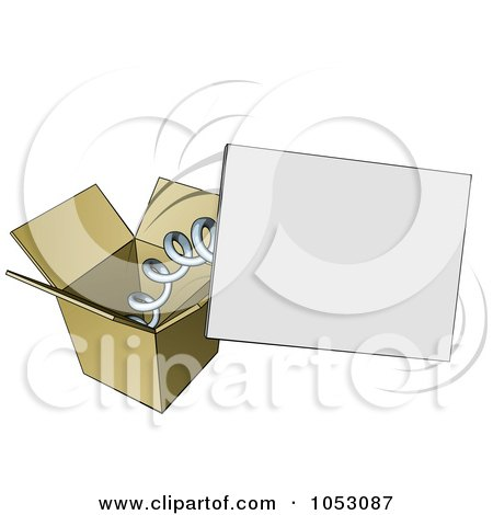 Royalty-Free Vector Clip Art Illustration of a Springy Sign Popping Out Of A Box by AtStockIllustration