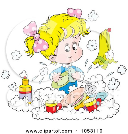 Royalty-Free Vector Clip Art Illustration of a Girl Washing Dishes by Alex Bannykh