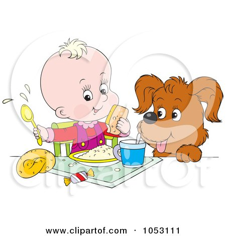 Royalty-Free Vector Clip Art Illustration of a Dog Watching A Baby Eat A Meal by Alex Bannykh