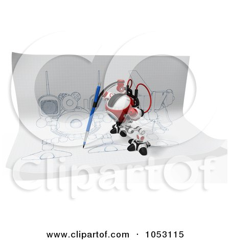 Royalty-Free 3d Clip Art Illustration of a 3d Web Crawler Robot Cam Drawing On Paper by Leo Blanchette