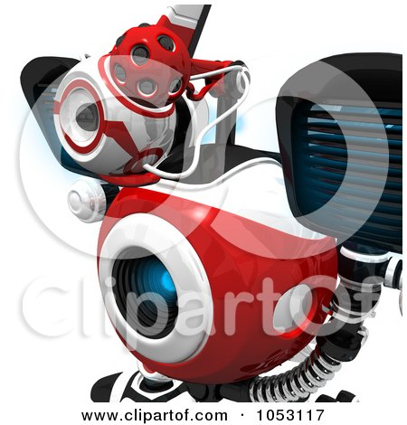Royalty-Free 3d Clip Art Illustration of a Closeup Of A Focused 3d Web Crawler Robot Cam by Leo Blanchette