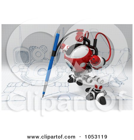 Royalty-Free 3d Clip Art Illustration of a 3d Web Crawler Robot Cam Drawing On Graph Paper by Leo Blanchette
