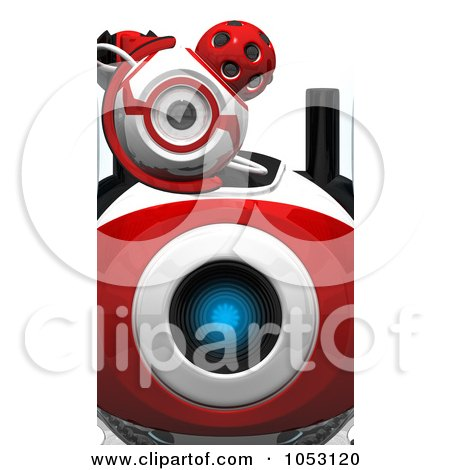 Royalty-Free 3d Clip Art Illustration of a Close Up Of A 3d Web Crawler Robot Cam's Eyes by Leo Blanchette