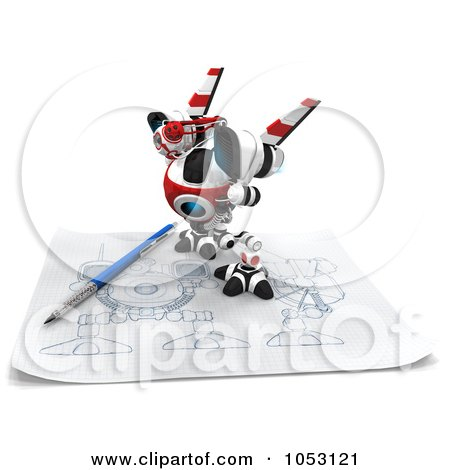 Royalty-Free 3d Clip Art Illustration of a 3d Web Crawler Robot Cam On A Sketch On Graph Paper by Leo Blanchette