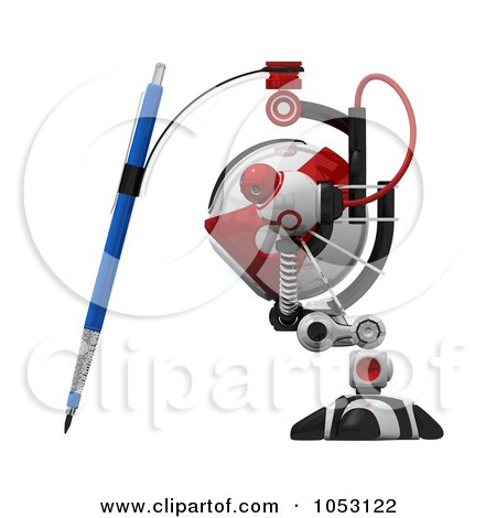Royalty-Free 3d Clip Art Illustration of a 3d Web Crawler Robot Cam Drawing, In Profile by Leo Blanchette