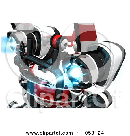 Royalty-Free 3d Clip Art Illustration of a 3d Web Crawler Robot Cam With Powered Up Jet Packs by Leo Blanchette