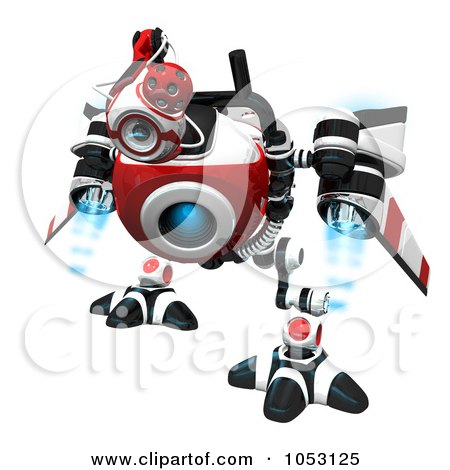Royalty-Free 3d Clip Art Illustration of a 3d Web Crawler Robot Cam Searching by Leo Blanchette