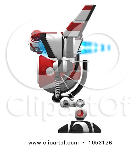 Royalty-Free 3d Clip Art Illustration of a 3d Web Crawler Robot Cam In Profile With Blue Fire by Leo Blanchette