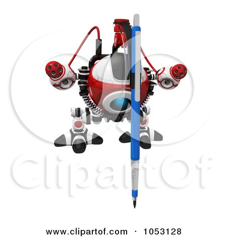 Royalty-Free 3d Clip Art Illustration of a 3d Web Crawler Robot Cam Drawing, Facing Front by Leo Blanchette