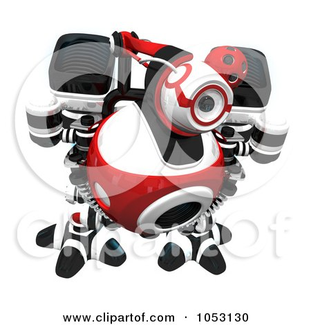 Royalty-Free 3d Clip Art Illustration of a 3d Web Crawler Robot Cam Investigating by Leo Blanchette