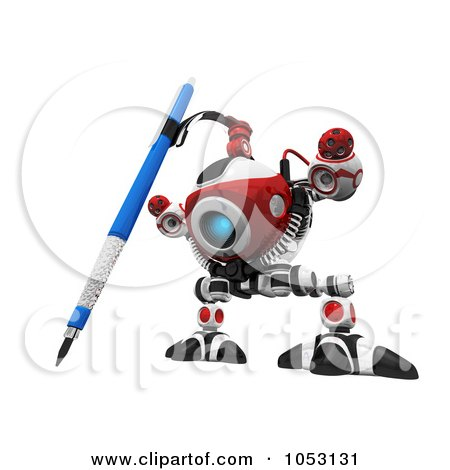 Royalty-Free 3d Clip Art Illustration of a 3d Web Crawler Robot Cam Drawing by Leo Blanchette
