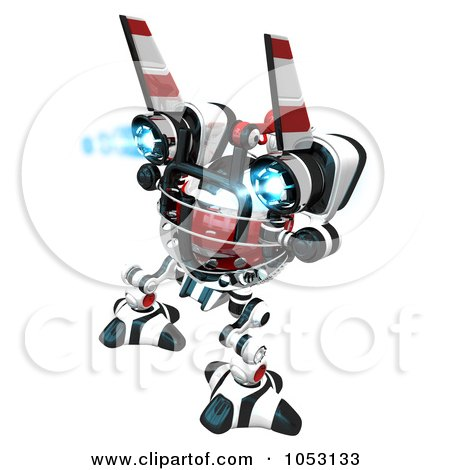Royalty-Free 3d Clip Art Illustration of a 3d Web Crawler Robot Cam Rear View by Leo Blanchette