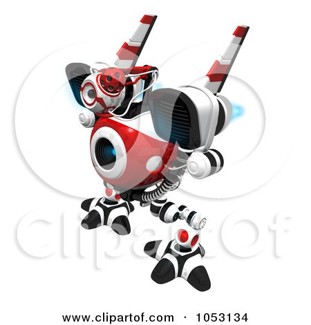 Royalty-Free 3d Clip Art Illustration of a 3d Web Crawler Robot Cam With Blue Flames On Its Jet Packs by Leo Blanchette