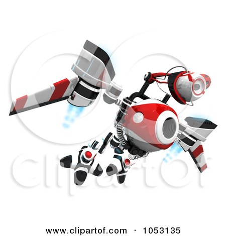 Royalty-Free 3d Clip Art Illustration of a 3d Web Crawler Robot Cam Flying High by Leo Blanchette