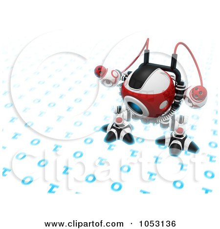 Royalty-Free 3d Clip Art Illustration of a 3d Web Crawler Robot Cam Inspecting Binary Code by Leo Blanchette